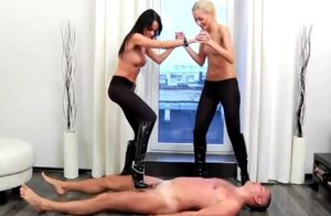 2 chic bony domme with leather stretch..