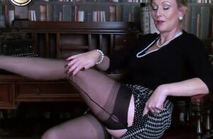 Mature taunt in seamed tights and..