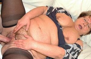 plump granny in enjoy with stepson