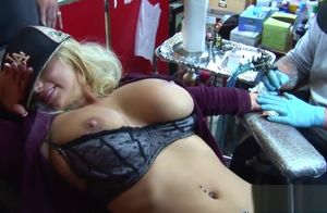 Shyla Stylez gets tatted while toying..