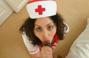 Brit Nurse collects indian guy goo..